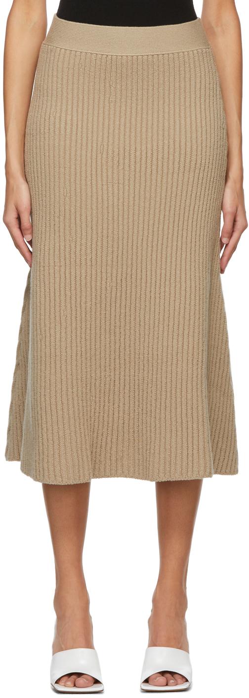 Bottega Veneta 驼色罗纹半身裙