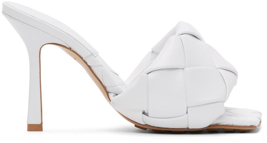 Bottega Veneta 白色 Lido Intrecciato 高跟凉鞋