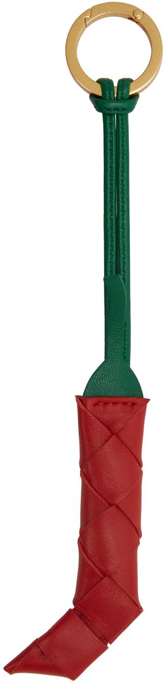 Bottega Veneta 红色 & 绿色 Intrecciato Pepper 钥匙扣