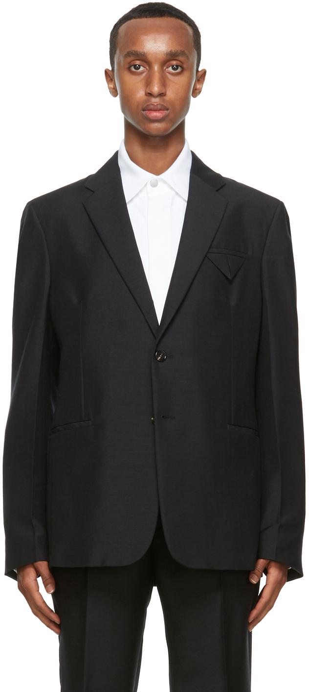 Bottega Veneta 黑色双扣修身西装外套