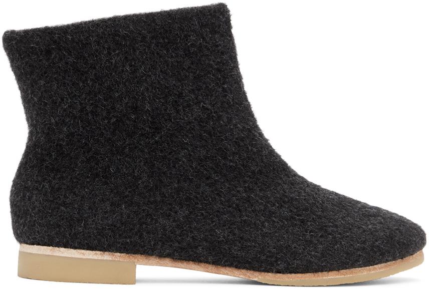 Black Alpaca Ankle Boots