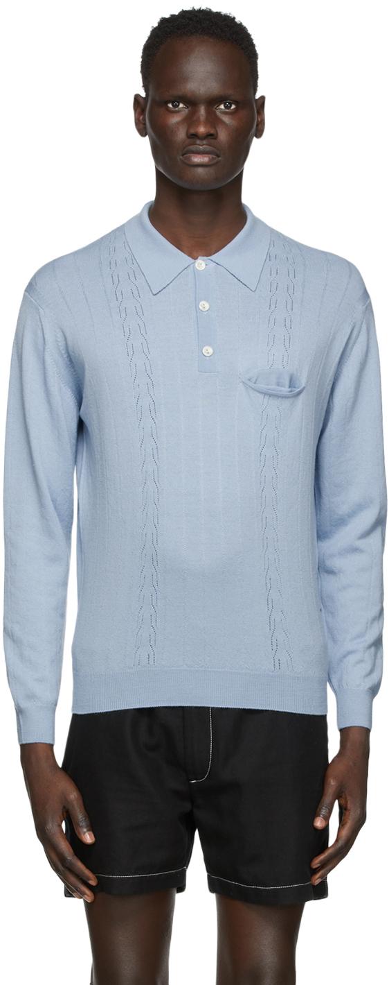 Second/Layer ブルー ポインテール ロング スリーブ ポロシャツ