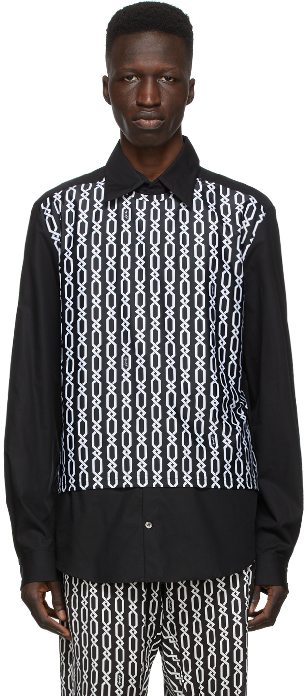 Black Panel Chains Shirt