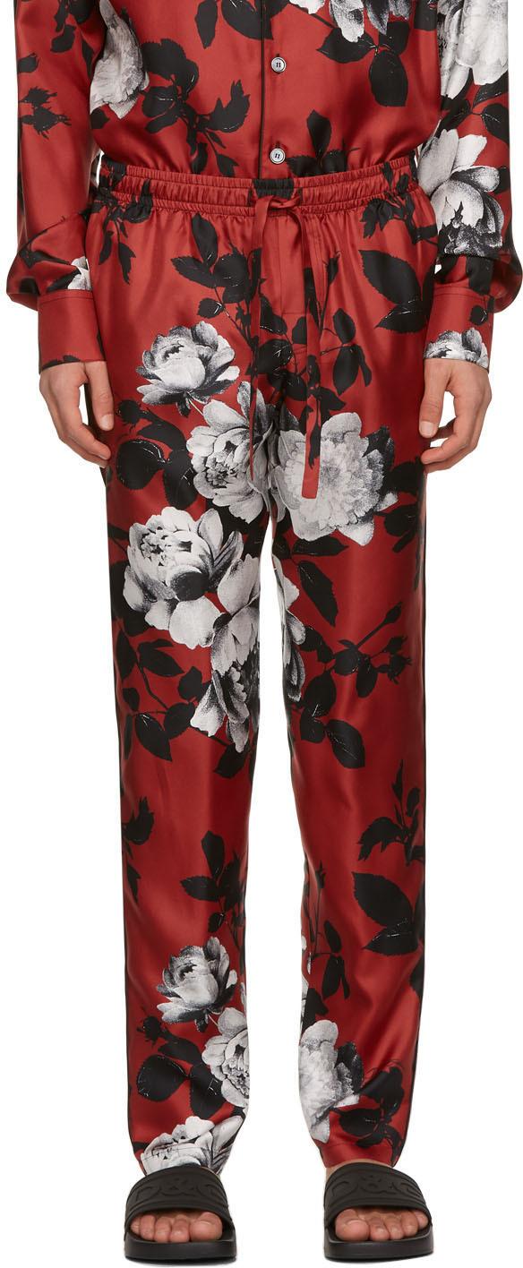Dolce & Gabbana 红色 Camellia Print Pyjama 真丝长裤