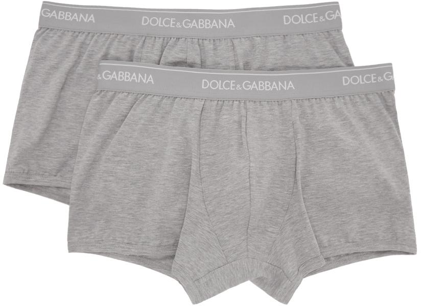 Two-Pack Grey Regular Boxer Briefs
