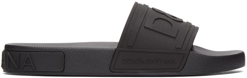 Black Tonal Logo Sandals