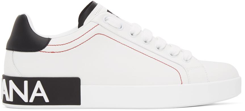 White & Black Portofino Sneakers