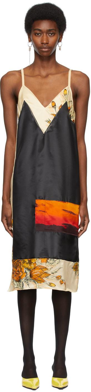 Black & Beige Panelled Dress