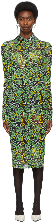 SSENSE Exclusive Black & Green Button Down Dress