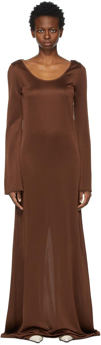 Brown Viscose Scoop Neck Long Dress