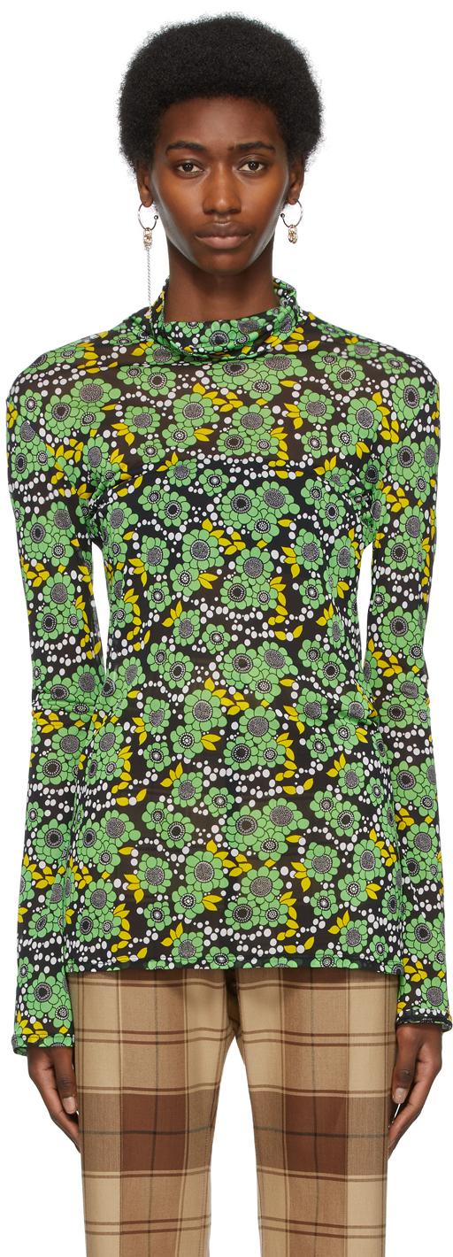 Black & Green Floral Turtleneck