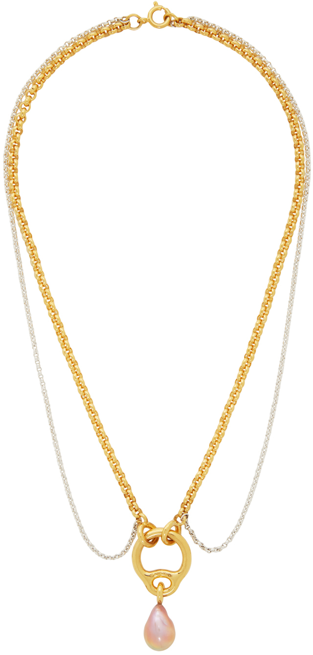Gold & Silver Pearl Eclipse Collar Necklace