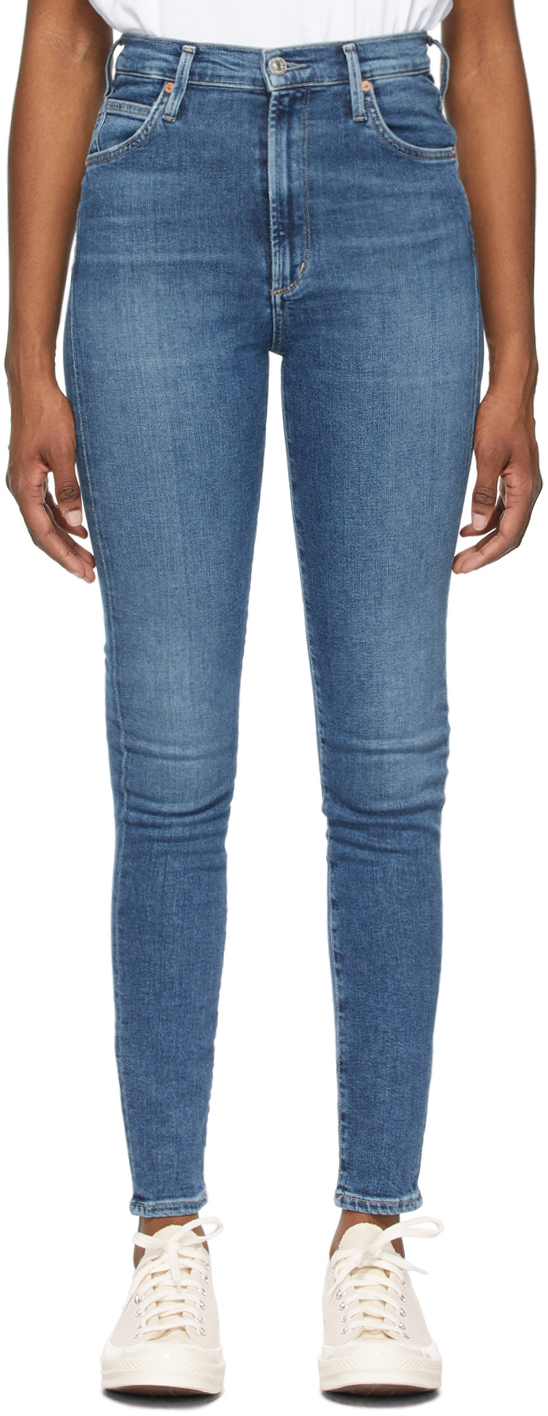 Blue High-Rise Chrissy Jeans