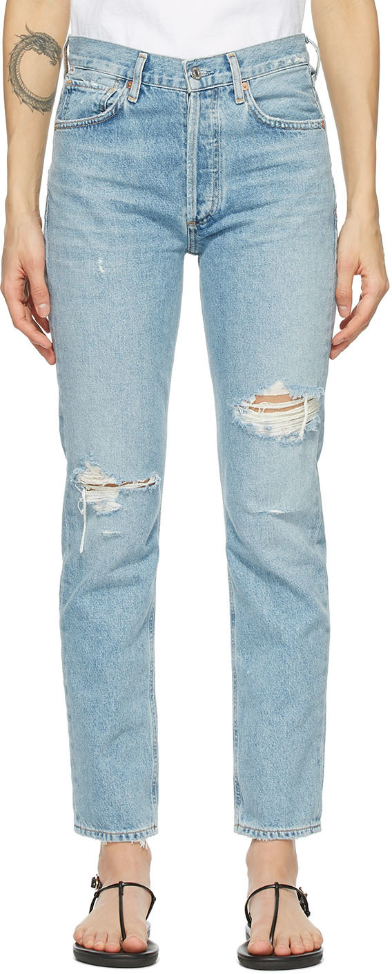 Blue Charlotte High-Rise Straight Jeans