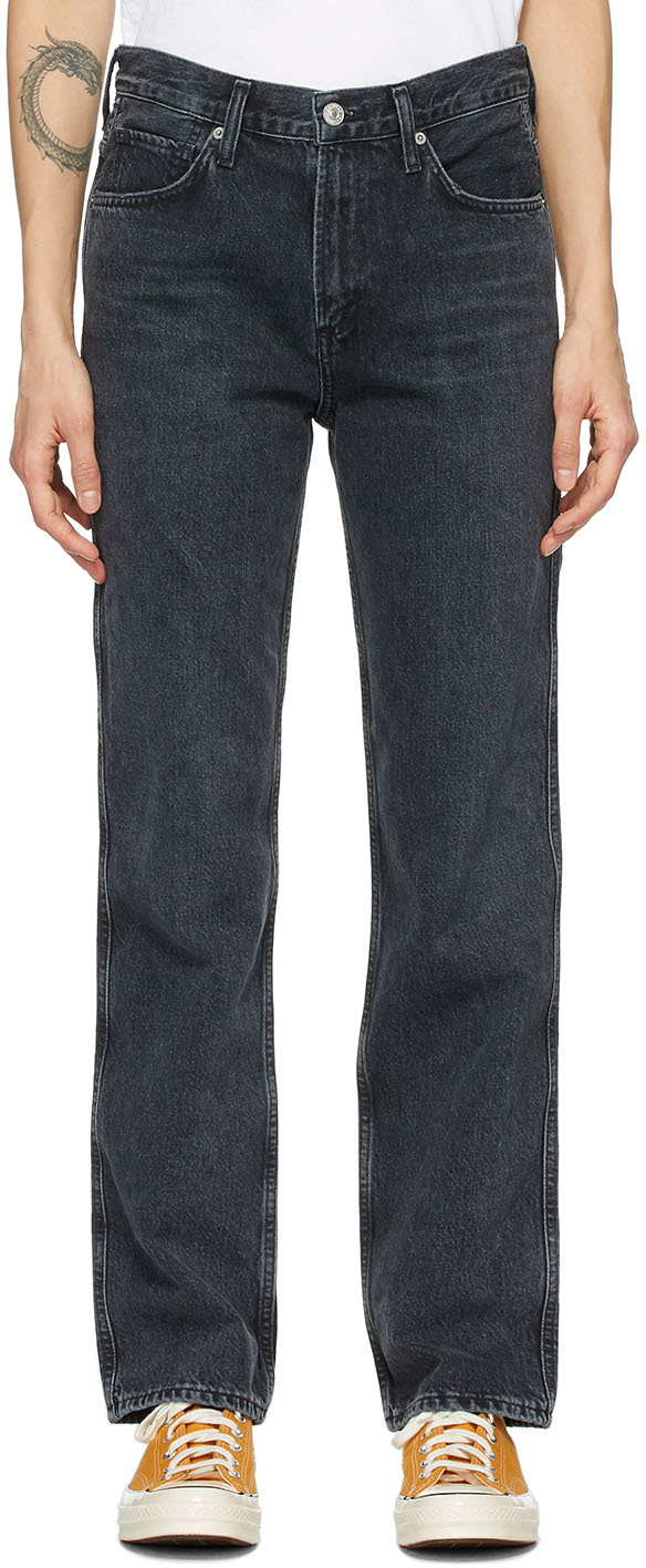 Black Daphne High-Rise Stovepipe Jeans