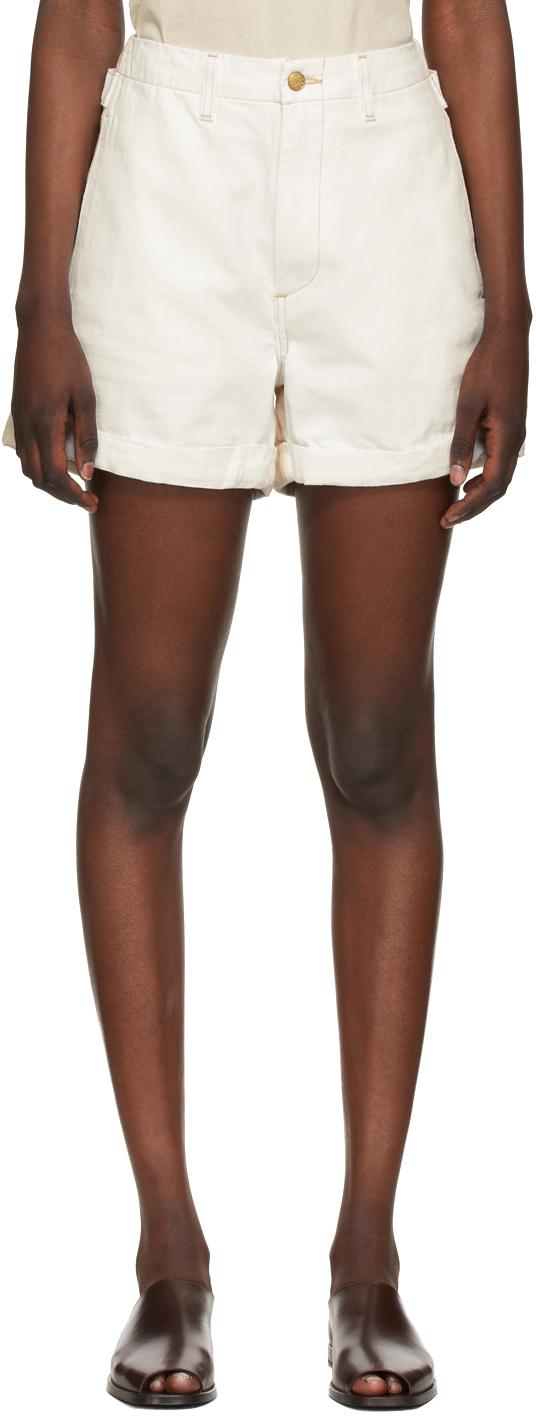 White & Beige Cinch Halfsie Shorts