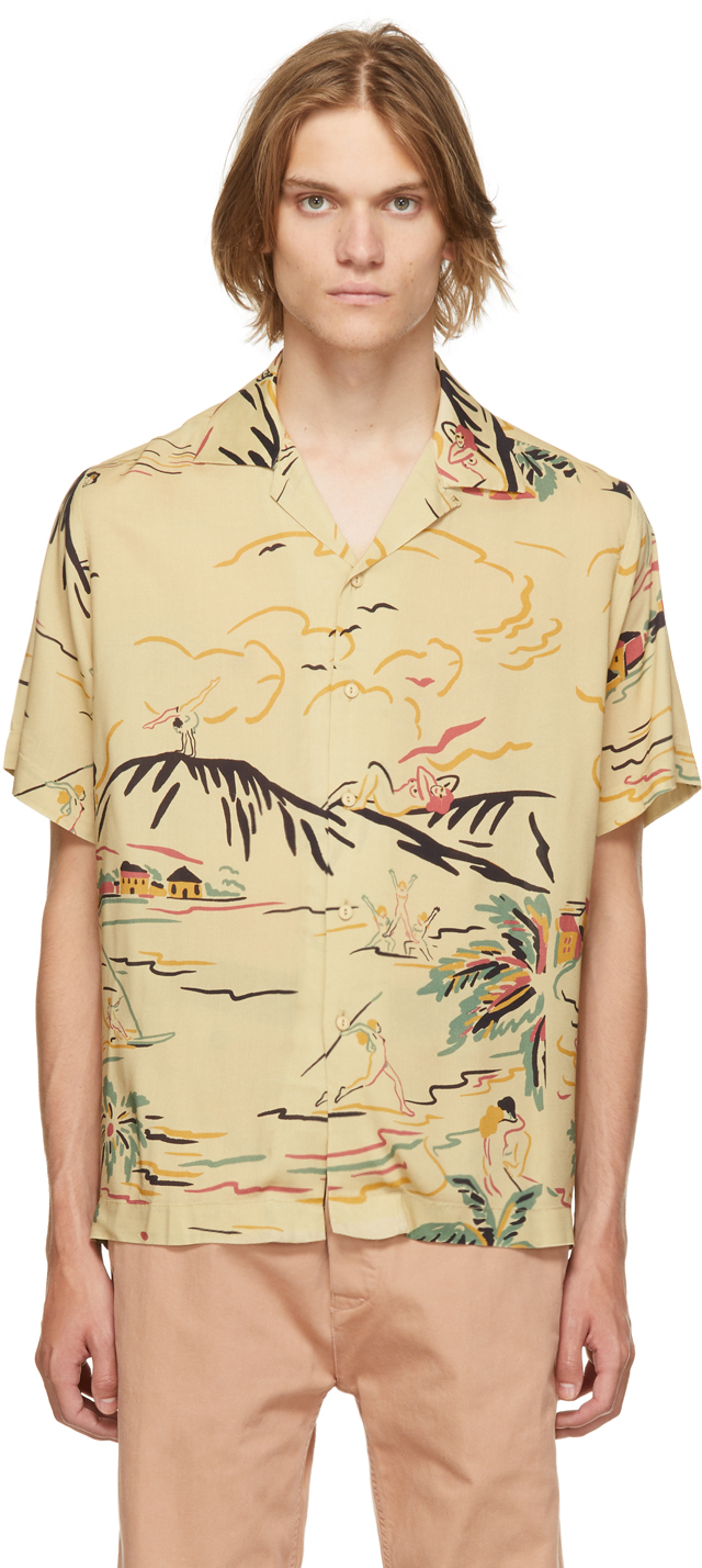 Beige Tropical Squirt Short Sleeve Shirt