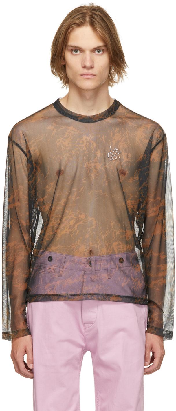 Carne Bollente Black & Brown Mesh Of Desire Long Sleeve T-Shirt