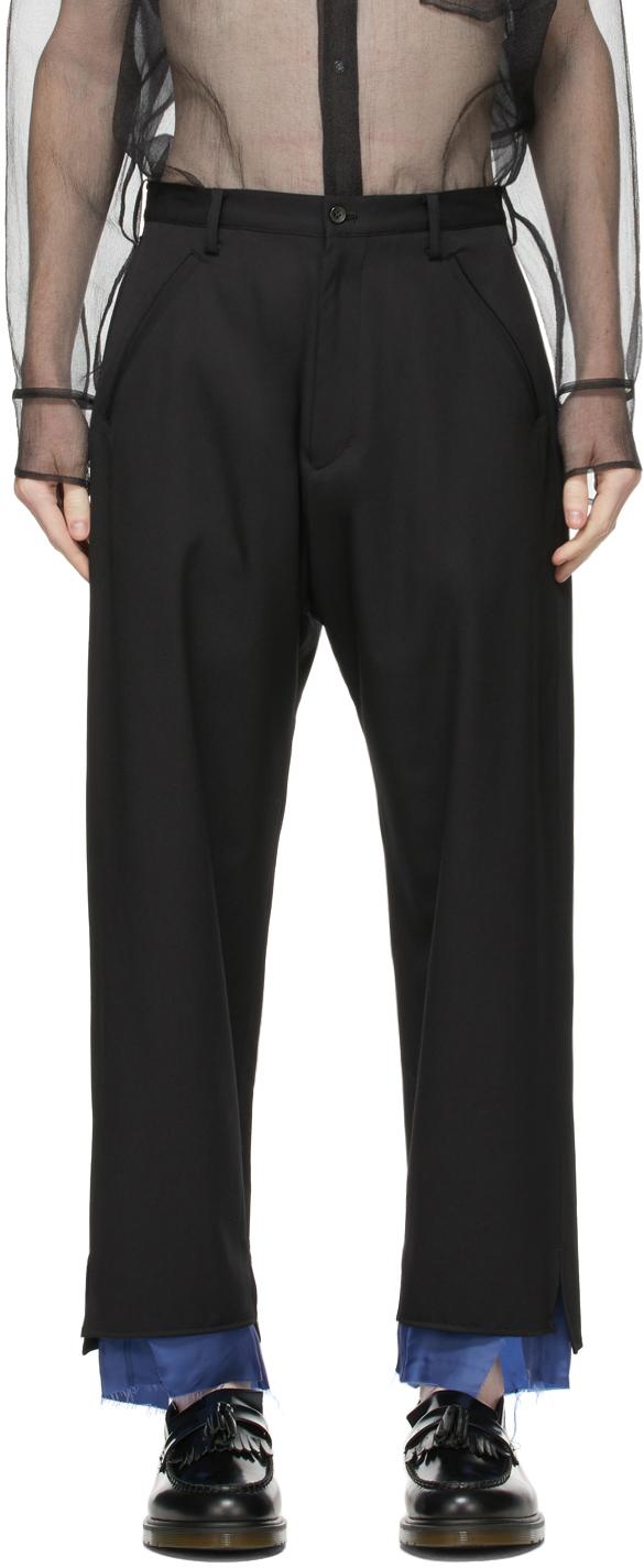Sulvam 黑色叠层羊毛长裤