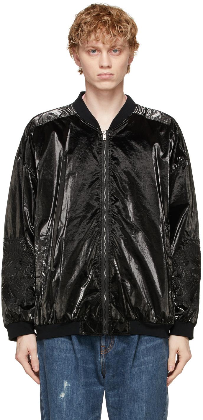 Black Gradation Chaos Embroidery Bomber Jacket