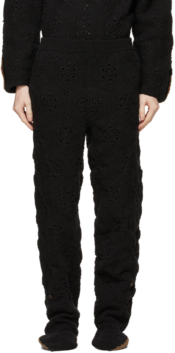 Black Hand-Crochet Bear Sweatpants