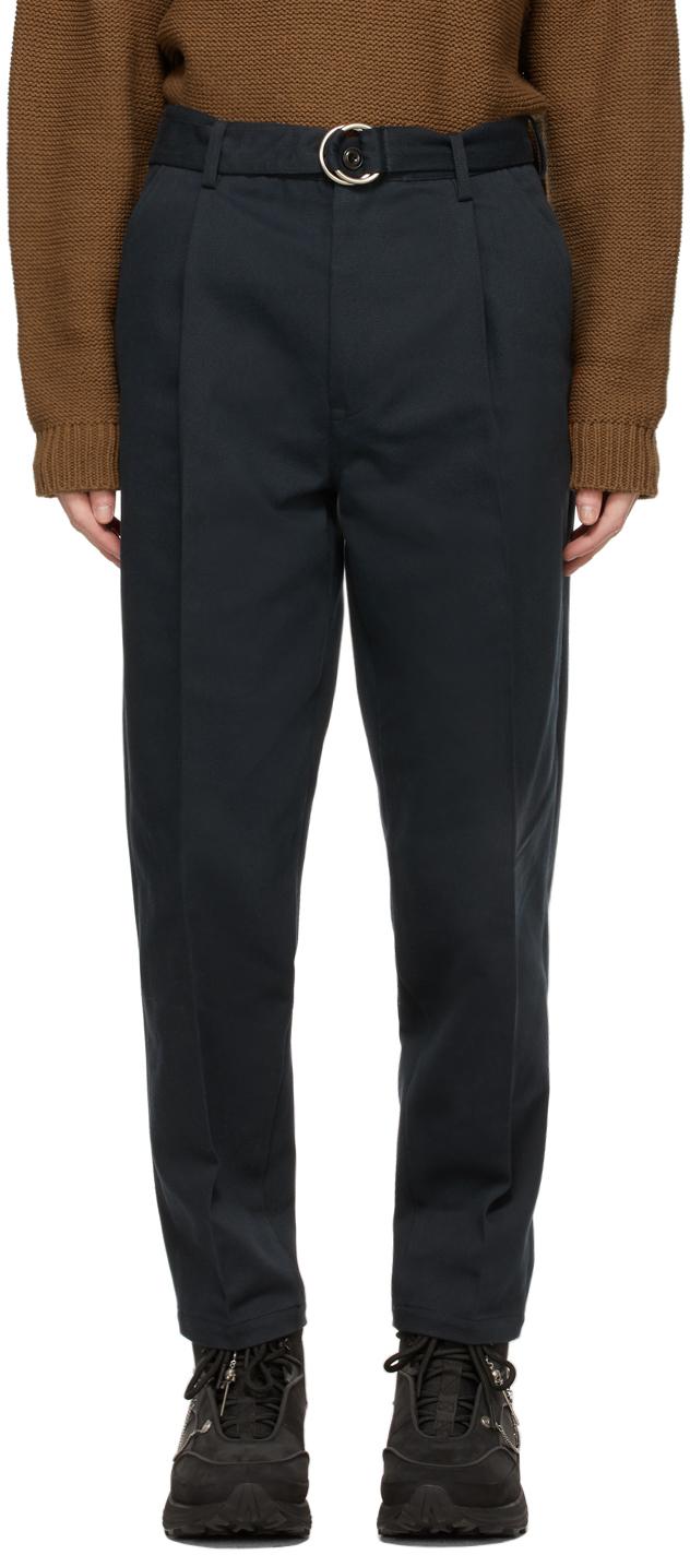 Navy Silk Chino Trousers
