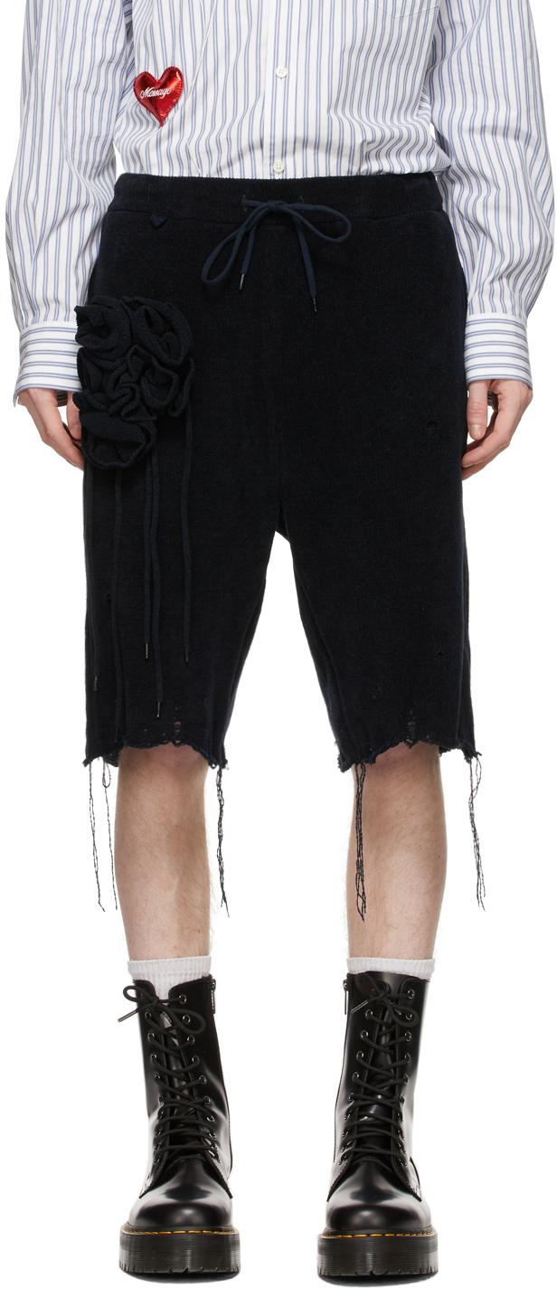 Navy Flower Corsage Shorts