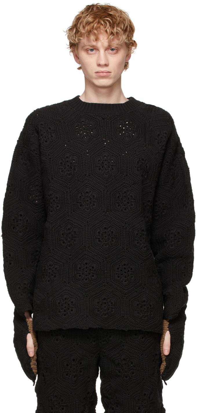 Black Hand-Crochet Bear Sweater