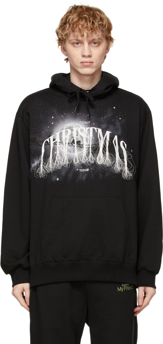 Black 'Not Christmas' Embroidery Hoodie