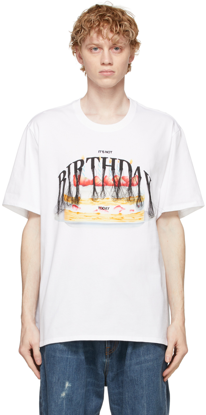 White 'Not Birthday' Embroidery T-Shirt