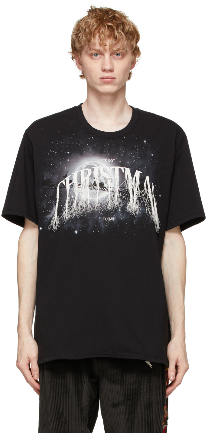 Black 'Not Christmas' Embroidery T-Shirt