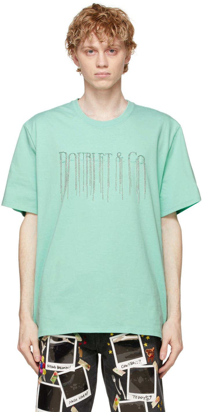 Green Chain Fringe Embroidery T-Shirt