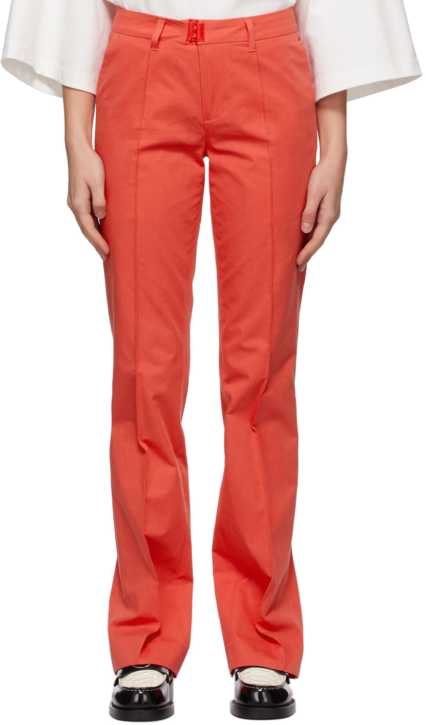 Red Slit Cuff Trousers