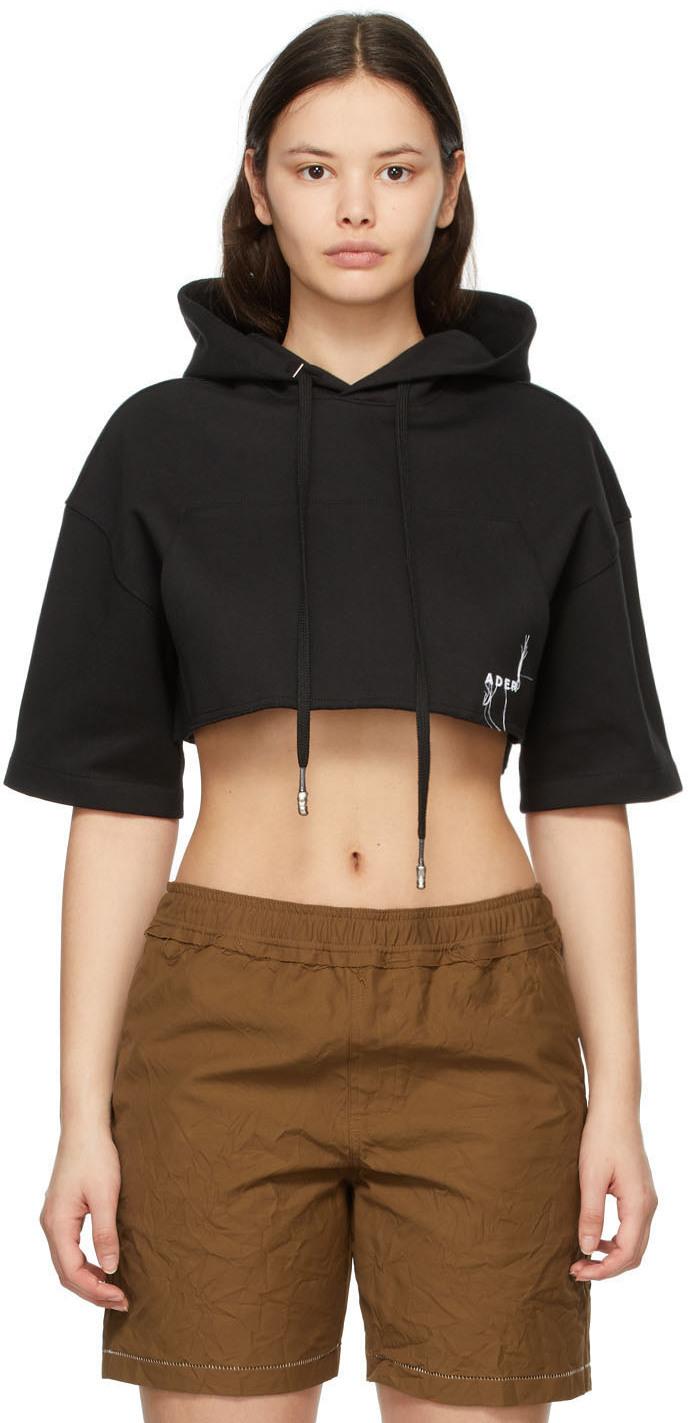 Black Cropped Short Sleeve Hoodie