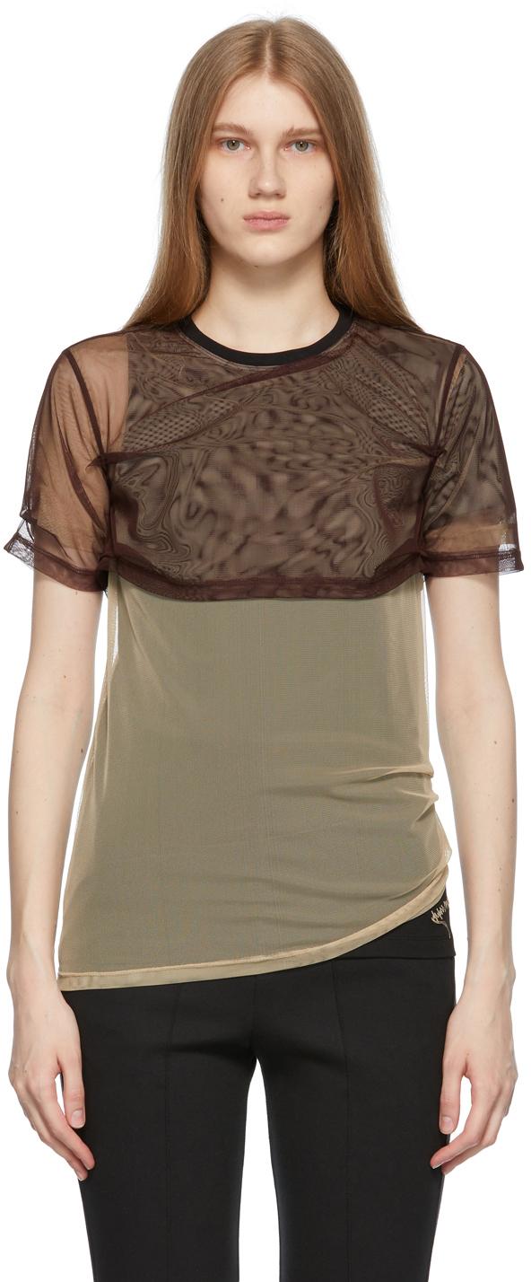 Brown & Beige Overlap T-Shirt