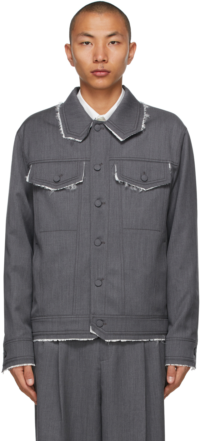 Grey Wool Striped Trim Jacket