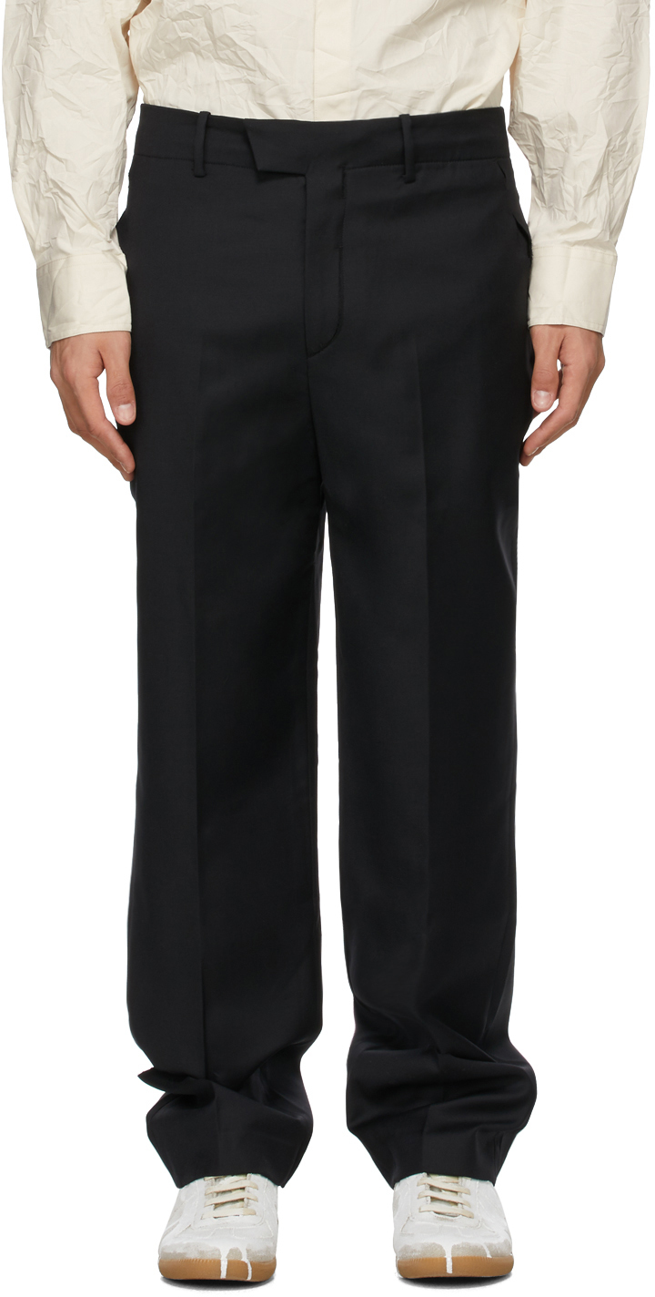 Black Wool Cut-Out Trousers