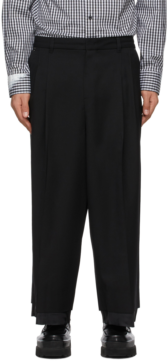 Black Wool Layered Trousers