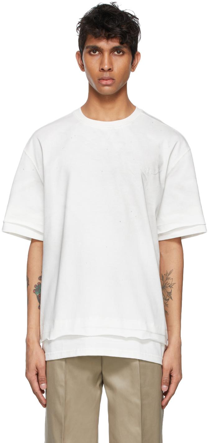 White Needle Logo Layered T-Shirt
