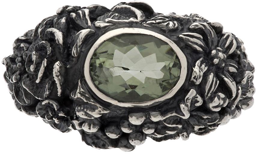Ugo Cacciatori Silver Amethyst Gem & Foliage Ring