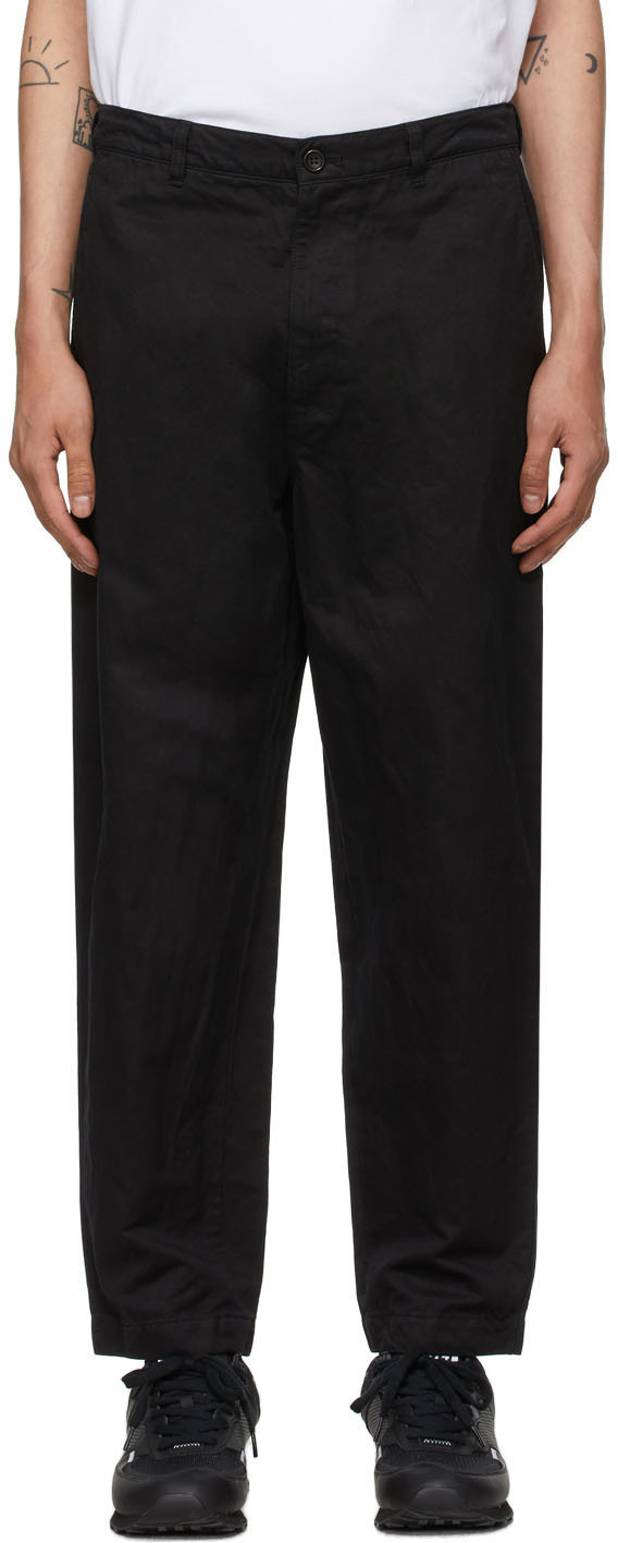 Black Garment-Dyed Trousers