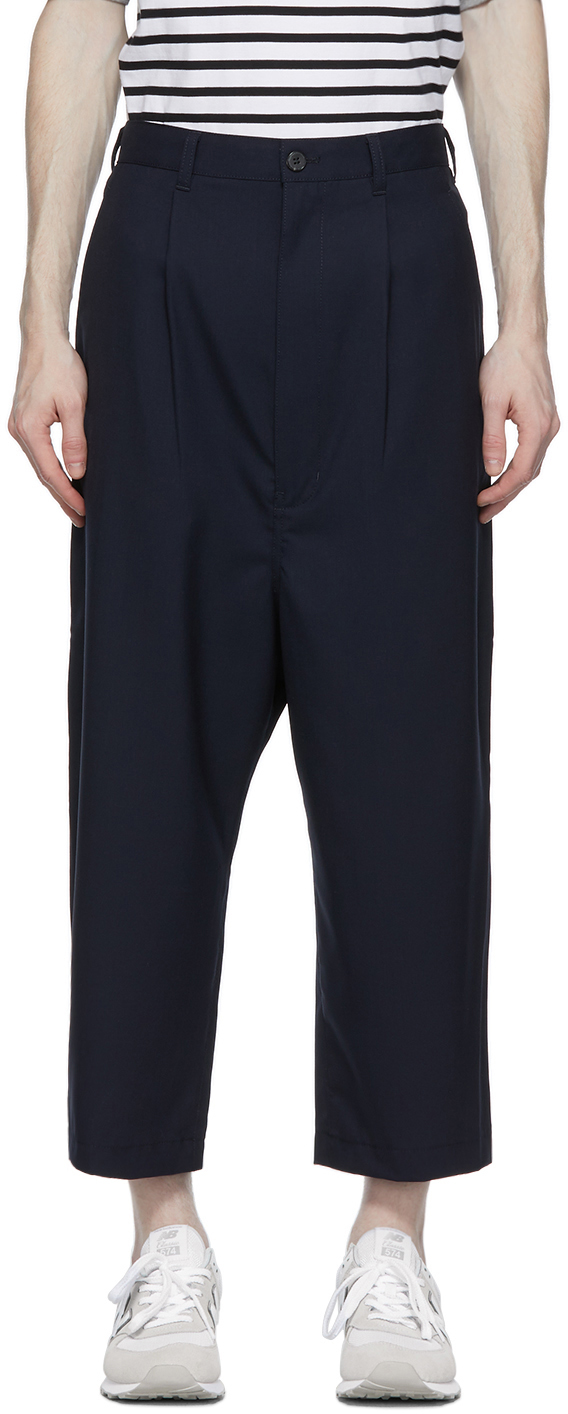 Navy Tropical Wool Wide-Leg Trousers