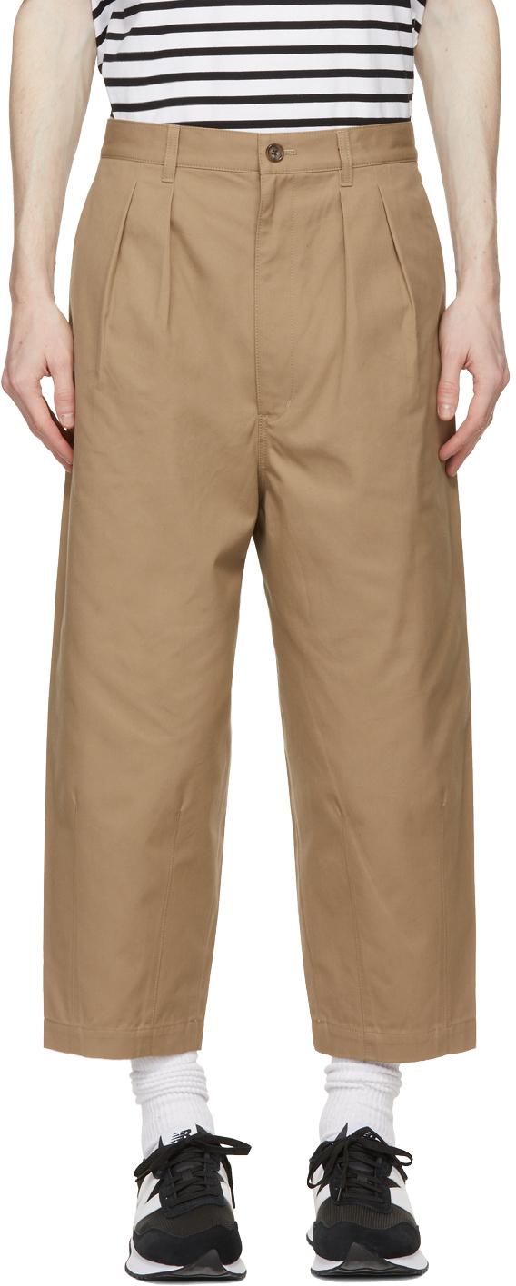 Beige Cotton Canvas Trousers