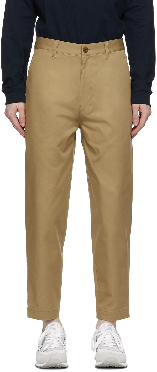 Beige Tapered Chino Trousers
