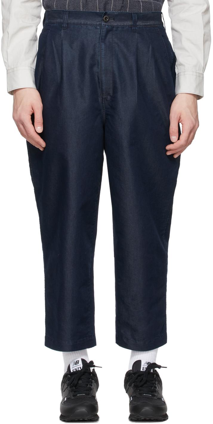 Indigo Denim Garment-Treated Trousers