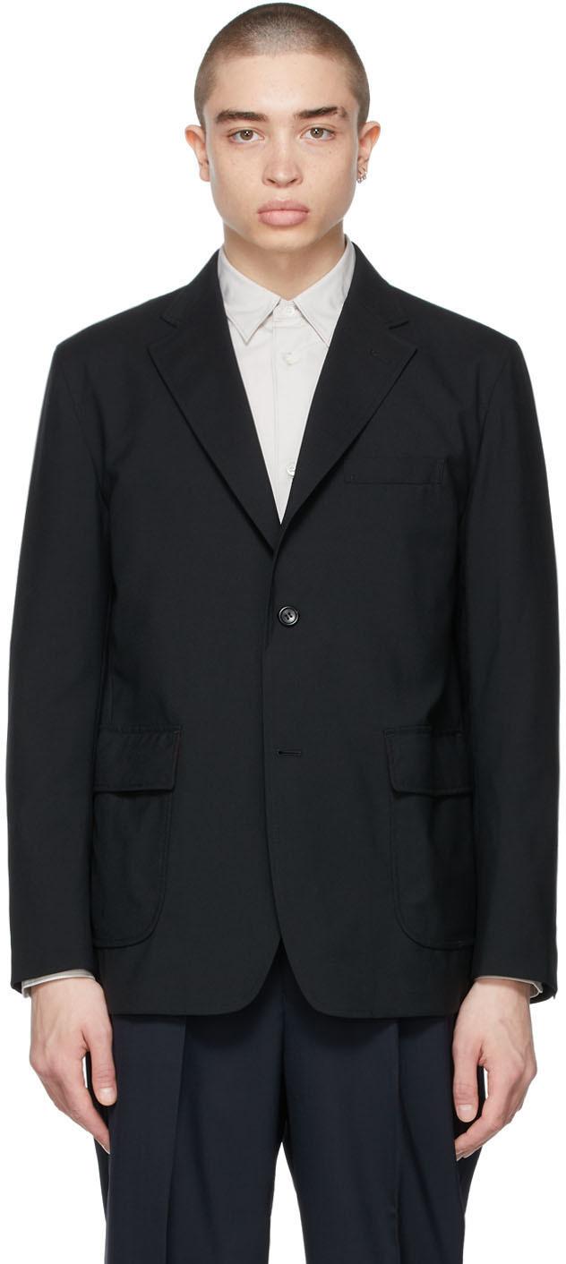 Black Tropical Wool Single-Breasted Blazer