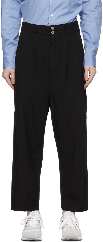 Black Gabardine Garment-Dyed Trousers