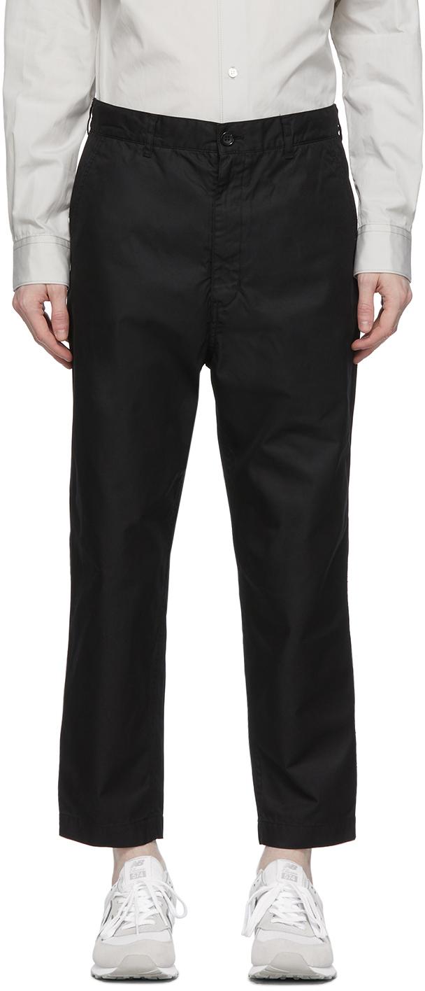 Black Gabardine Chino Trousers