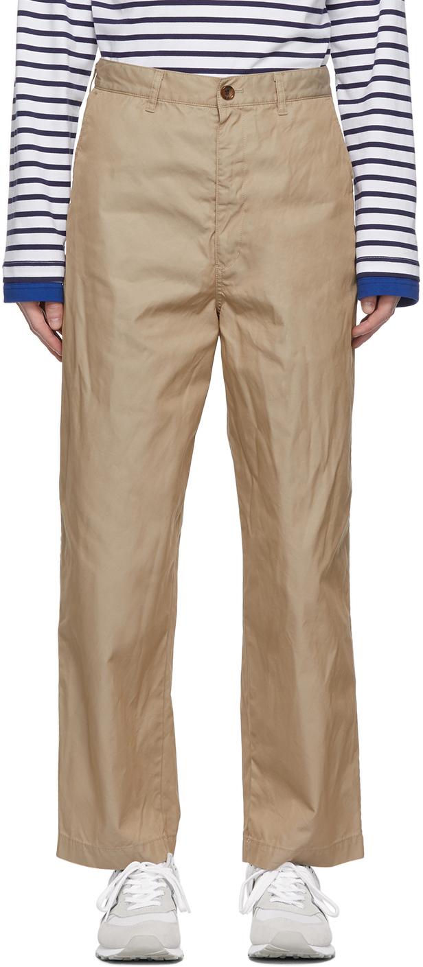 Beige Gabardine Chino Trousers