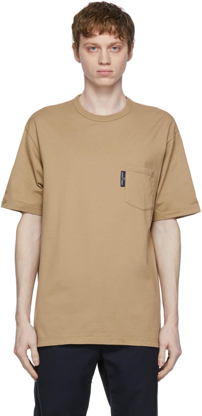 Beige Garment-Dyed Pocket T-Shirt